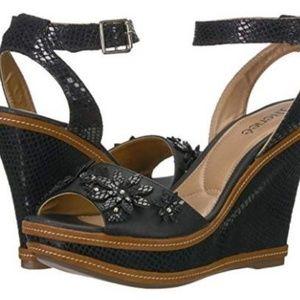 J.Renee Women's Alawna Black Wedge Sandal SZ 10.5